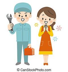 pracownik, pozdrawia, samiec, ilustracja, naprawa, came, gospodyni, uśmiech