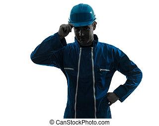 pracownik, pozdrawianie, zbudowanie, sylwetka, człowiek