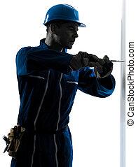 pracownik, screwdriving, zbudowanie, sylwetka, człowiek