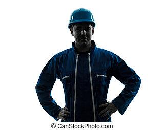 pracownik, uśmiechanie się, zbudowanie, sylwetka, człowiek