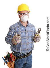 pracownik, zbudowanie, bezpieczeństwo