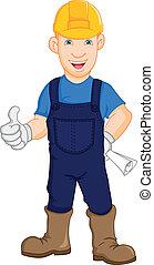 pracownik, zbudowanie, naprawiacz