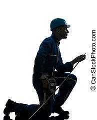 pracownik, zbudowanie, sylwetka, człowiek