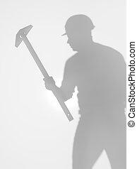 pracownik, zbudowanie, sylwetka