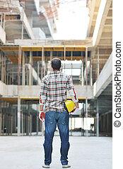 pracownik, zbudowanie, twardy, umiejscawiać
