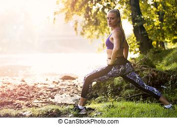 practica, naturaleza, tropical, balancing., el balancear,...