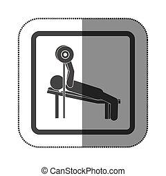 practicar, abajo, pesas, hombre, acostado, icono