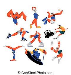 practicar, grupo, caracteres, deportes, atletas, nueve