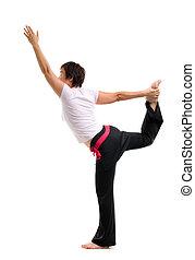 practicar, mujer, yoga, asiático, maduro