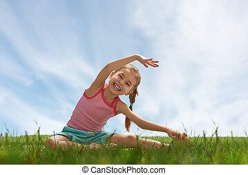 practicar, yoga, niño