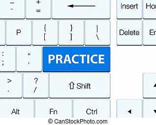 Practice blue keyboard button