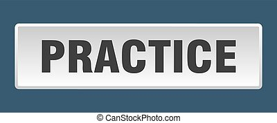 practice button. practice square white push button