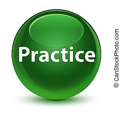 Practice glassy soft green round button