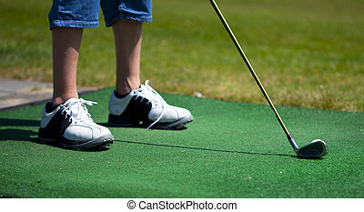 practice golf on the green