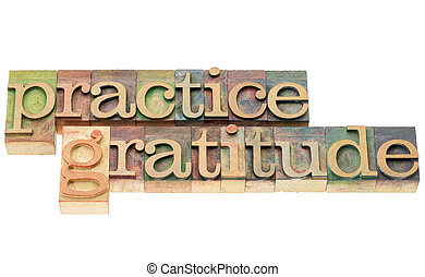 practice gratitude - isolated text in letterpress wood type printing blocks stained by color inks