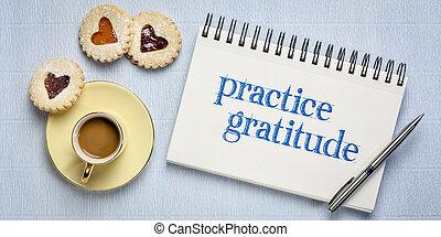 practice gratitude inspirational text in sketchbook