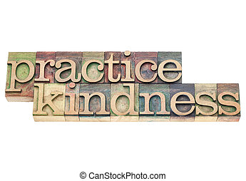 practice kindness - isolated text in vintage letterpress wood type printing blocks
