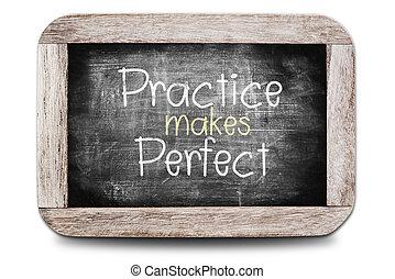 Practice Makes Perfect ,handwriting blackboard writings.
