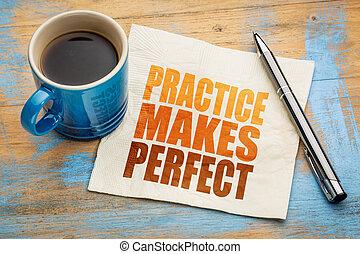 practice makes perfect on napkin