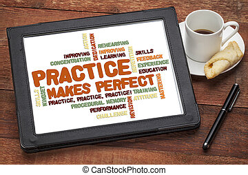 practice makes perfect - related word cloud on a digital...