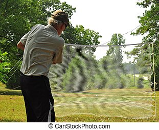 Practice makes Perfect - Practicing Golf Swing Hitting Balls...