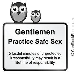 Practice safe sex - Monochrome comical practice safe sex ...