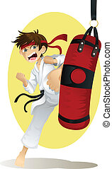 Practicing karate - A vector illustration of a teenage boy...