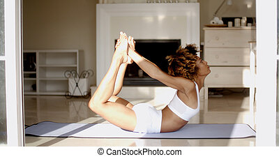 practicing, kobieta, yoga, młody