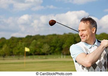 practicing, szczęśliwy, golf, człowiek