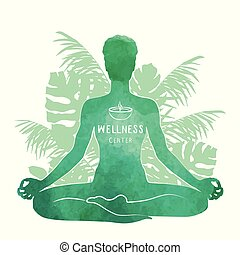 Practicing yoga, relaxation and meditation concept. Watercolor Silhouette, vector illustration