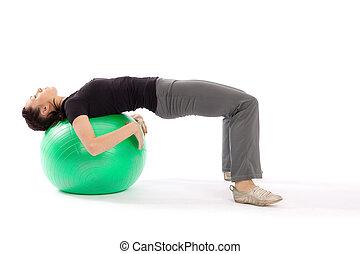 practing, mulher, pilates