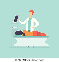 Practitioner doctor examining female patient lying on the bed, medical treatment and healthcare concept vector Illustration