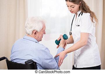 practitioner, mostrando, paciente, exercício