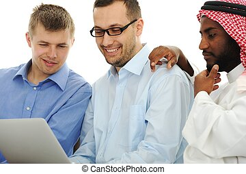 pracující lid, univerzita, mládě, mezinárodní, počítač na klín