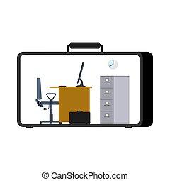 pracujące biuro, case., ruchomy, komputer, miejsce pracy, suitcase.