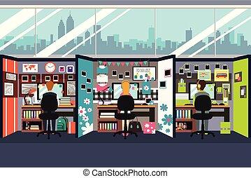 pracujące biuro, handlowy zaludniają, kabinki, ilustracja