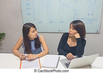 pracujące biuro, razem, handlowy, asian, drużyna
