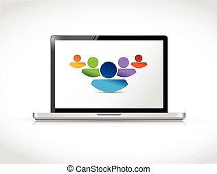 pracujące ludzie, laptop, razem, teamwork, online.