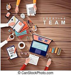 pracujące miejsce, od, twórczy, drużyna, w, płaski,...