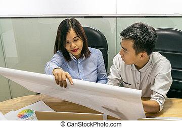 pracujący, asian handlowy, biuro, pracownicy