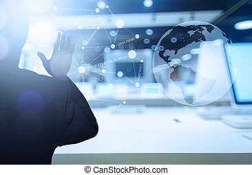 pracujący, biznesmen, nowoczesna technologia, pojęcie