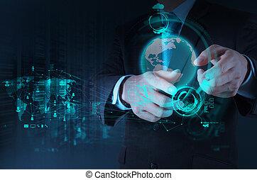 pracujący, biznesmen, nowy, nowoczesna technologia, ręka, pojęcie