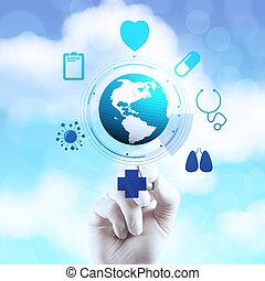 pracujący, doktor, nowoczesny, m, ręka, medycyna, komputer, interfejs