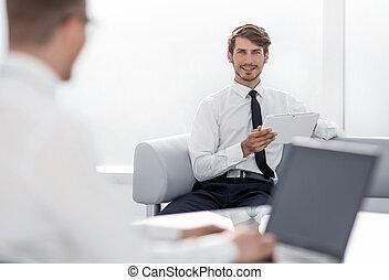 pracujący, dwa, biuro, biznesmeni