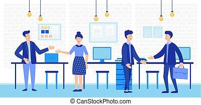 pracujący, handlowe biuro, przestrzeń, ludzie., razem, twórczy, coworking, wektor, drużyna, otwarty, illustration.