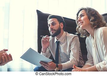 pracujący, handlowy zaludniają, na, spotkanie