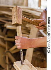 pracujący, instrument, dłuto, stolarz, ręka, drewno, młot