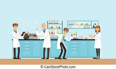 pracujący, nauka, ilustracja, pracownia, chemiczny, wektor, ...