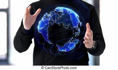 pracujący, planetować ziemię, człowiek, hologram, 3d