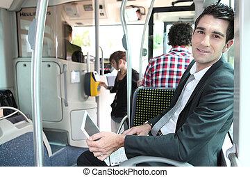 pracujący, posiedzenie, tramwaj, laptop komputer, człowiek